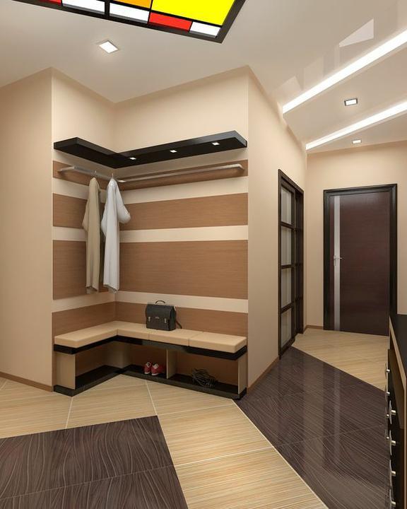 Узкий г-образный коридор дизайн в квартире