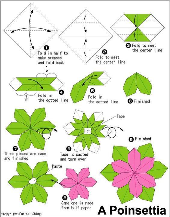 Цветы из бумаги оригами с инструкцией