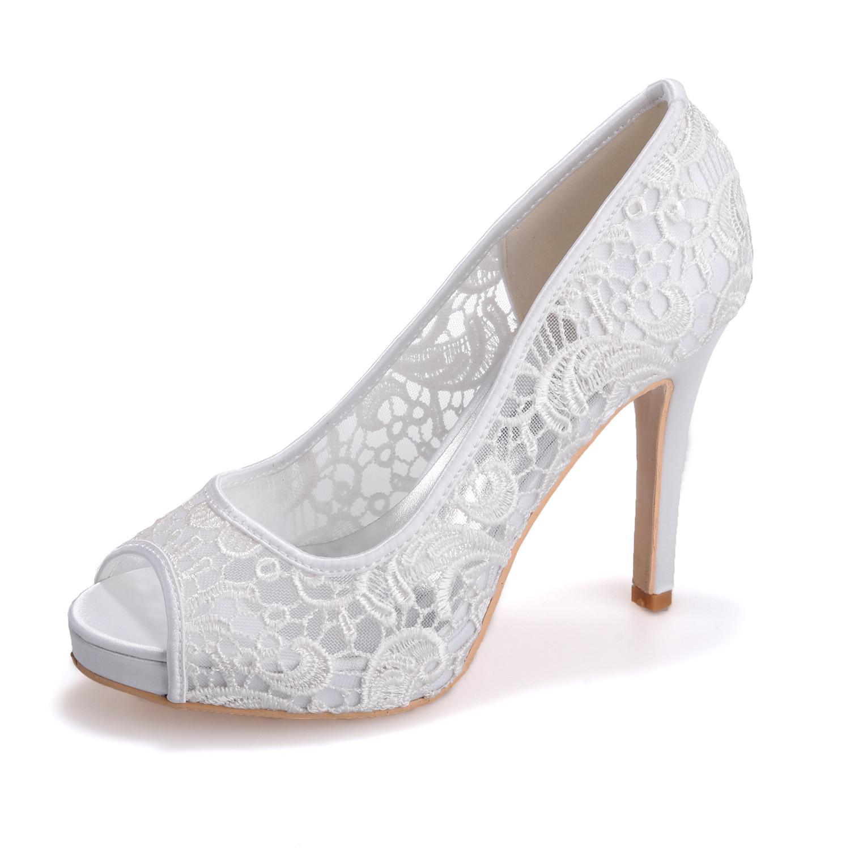 9523a11a4650 Bílé krajkové svatební lodičky