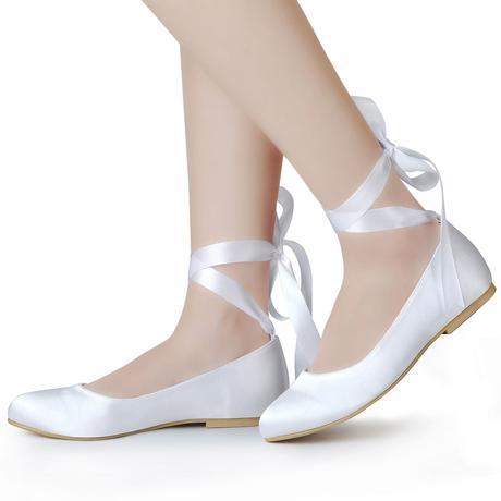11105EP - Saténové baleríny, bez podpatku, 42
