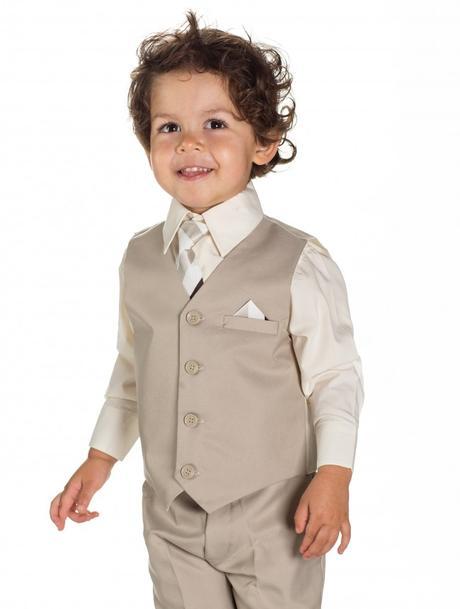 AKCE - béžový dětský oblek k zapůjčení, 122