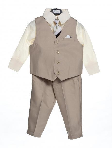 AKCE - béžový dětský oblek k zapůjčení, 134