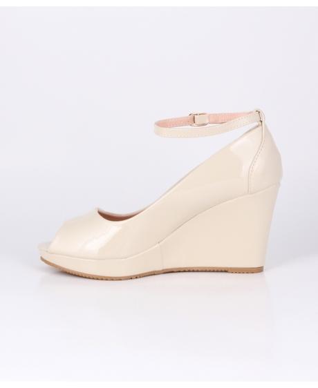 AKCE - bílé svatební boty na klínku, 36-41, 38