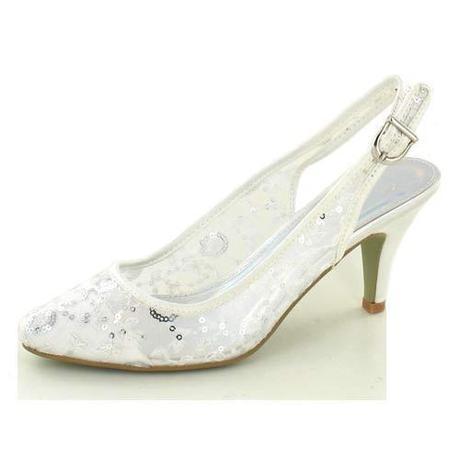 AKCE - bílé svatební lodičky, flitry, 36-41, 36