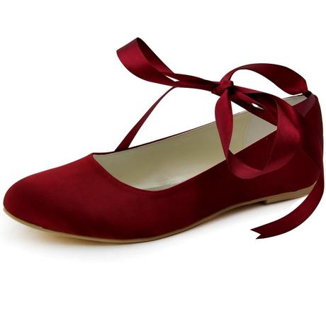 AKCE - burgundy saténové baleríny, 38
