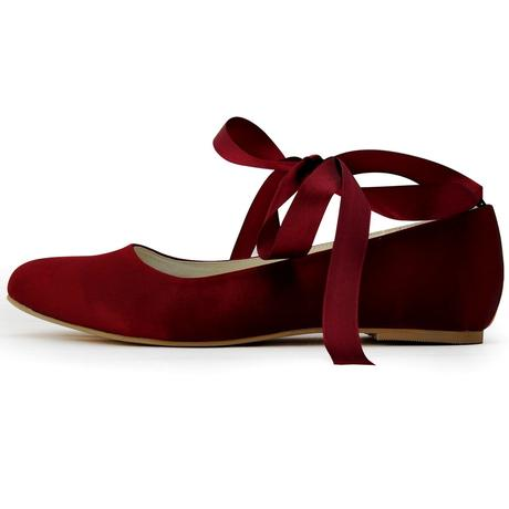 AKCE - burgundy saténové baleríny, 40