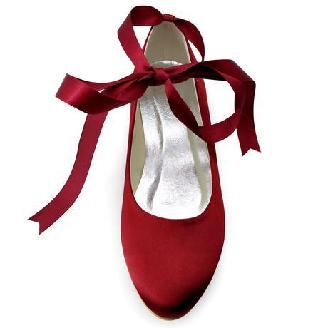 AKCE - burgundy saténové baleríny, 41