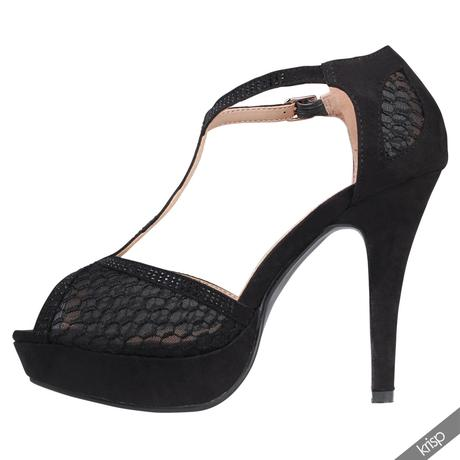 AKCE - černé plesové sandálky, 36-41, 36