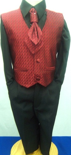AKCE - červený,černý oblek k půjčení, 6m-10 let, 104