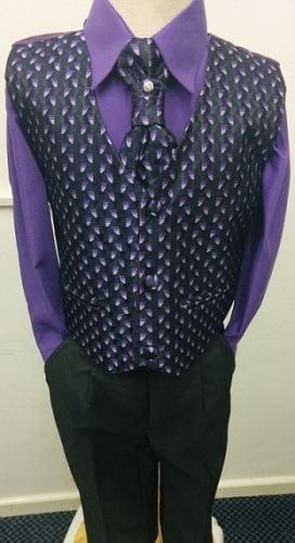 AKCE - fialový,černý oblek k zapůjčení, 6m-10let, 134