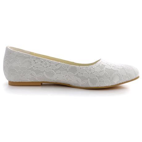 AKCE - ivory krajkové svatební baleríny, 37