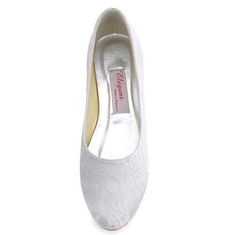 AKCE - ivory krajkové svatební baleríny, 38