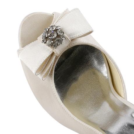 AKCE - ivory saténové svatební lodičky, 23,5cm, 37