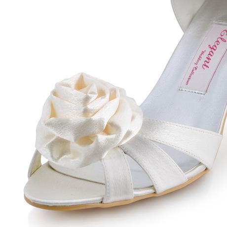 AKCE - ivory saténové svatební sandálky, 25cm, 39