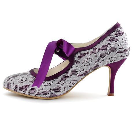 AKCE - krajkové fialové lodičky, 23,5cm, 37