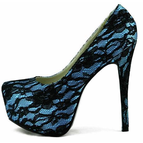 AKCE - modré krajkové lodičky, 36-41, 38