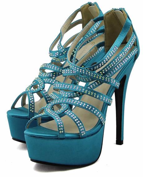 AKCE - modré, tyrkys extravagantní sandálky, 36-41, 41