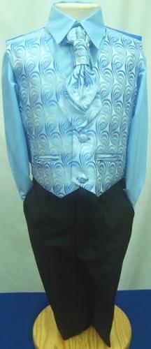 AKCE - modrý,černý svatební oblek k půjčení,6m-10l, 140