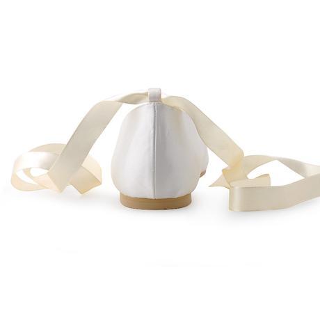 AKCE - saténové bílé, ivory svatební baleríny, 41