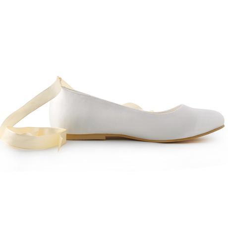AKCE - saténové bílé, ivory svatební baleríny, 42