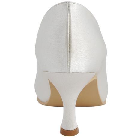 AKCE - saténové bílé, ivory svatební lodičky, 35