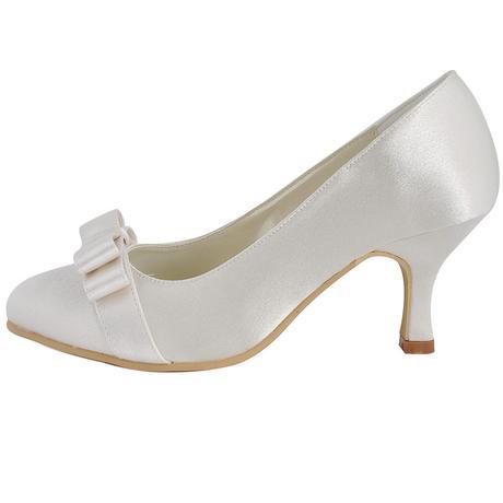 AKCE - saténové bílé, ivory svatební lodičky, 36