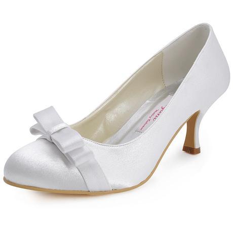 AKCE - saténové bílé, ivory svatební lodičky, 37