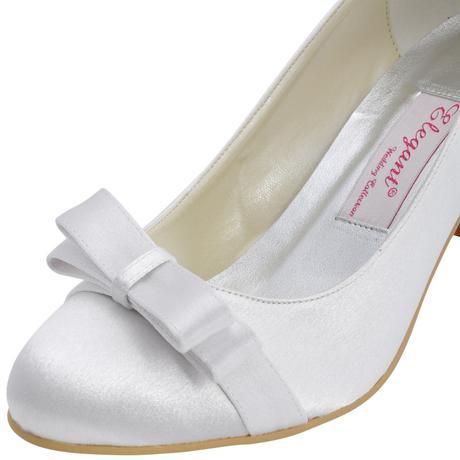 AKCE - saténové bílé, ivory svatební lodičky, 38