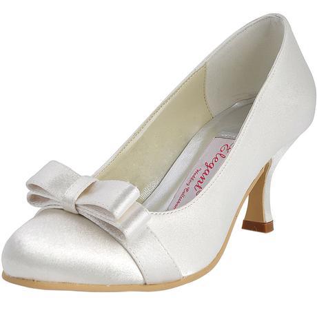 AKCE - saténové bílé, ivory svatební lodičky, 39