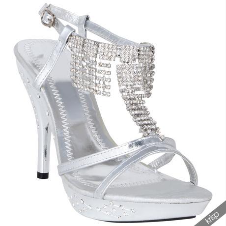 AKCE - stříbrné plesové sandálky, 36-41, 36