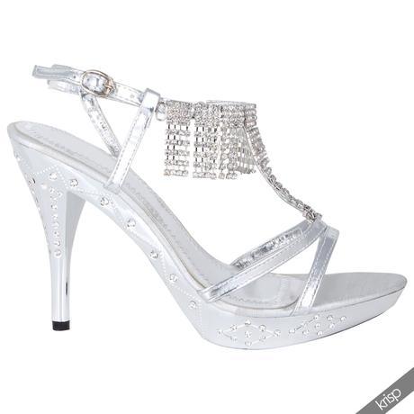 AKCE - stříbrné plesové sandálky, 36-41, 37