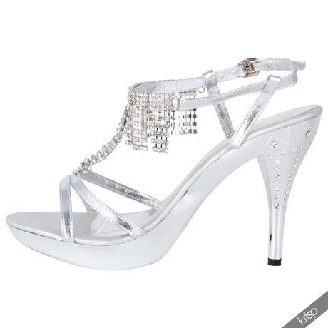 AKCE - stříbrné plesové sandálky, 36-41, 41