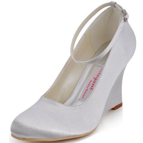 AKCE - stříbrné saténové boty na klínku, 41