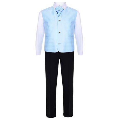 AKCE - světle modrý oblek k zapůjčení, 116