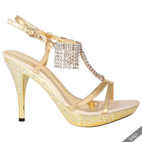 AKCE - zlaté plesové společenské sandálky, 36-41, 41