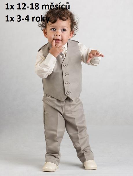 Béžový oblek 12-18 měsíců, půjčovné, 80