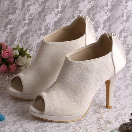 Bílá, ivory, svatební kotníčkové boty, 34-42, 41