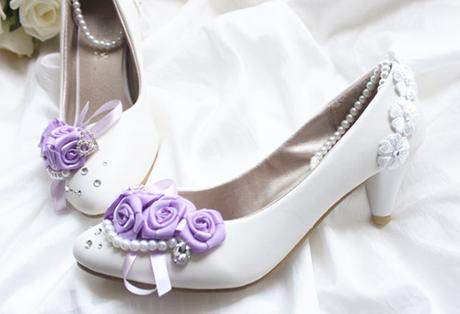 Bílé balerínky, lilla zdobení, 35-41, 35