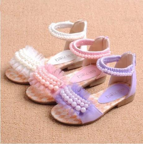 Bílé dětské perličkové sandálky, 26-36, 28