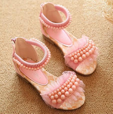 Bílé dětské perličkové sandálky, 26-36, 32