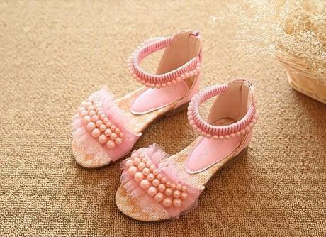 Bílé dětské perličkové sandálky, 26-36, 33