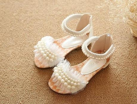 Bílé dětské perličkové sandálky, 26-36, 34