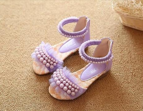 Bílé dětské perličkové sandálky, 26-36, 35