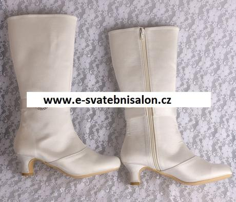 Bílé, ivory svatební kozačky, 34-42, 34