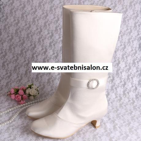 Bílé, ivory svatební kozačky, 34-42, 38