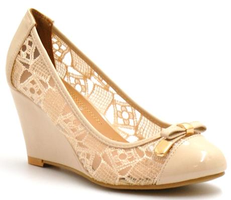 Bílé krajkové boty na klínku, 36-41, 36