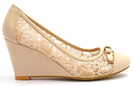 Bílé krajkové boty na klínku, 36-41, 39