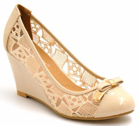 Bílé krajkové boty na klínku, 36-41, 40