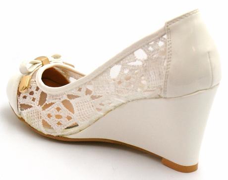 Bílé krajkové boty na klínku, 36-41, 41