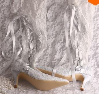 Bílé krajkové svatební kozačky, 34-42, 34
